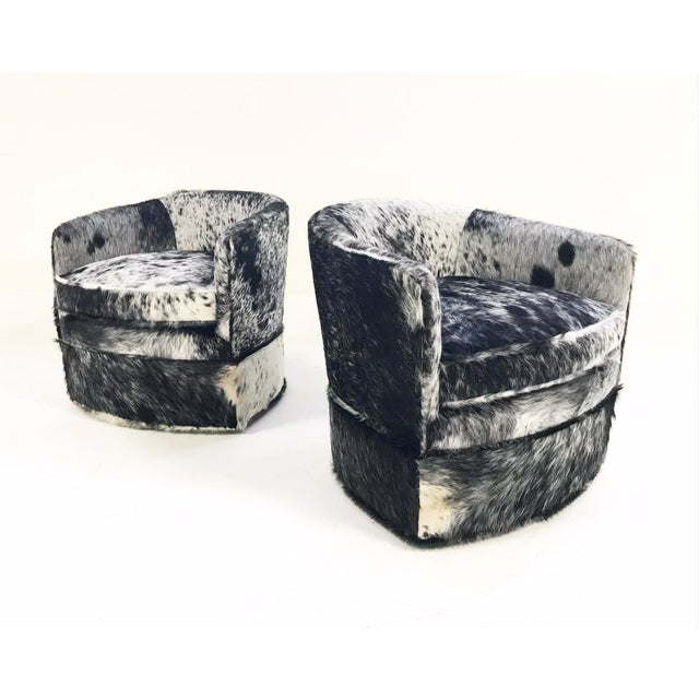Vintage Milo Baughman Wheeled Restored and Reupholstered in Black and White Speckled Brazilian Cowhide Slipper Chairs - a Pair - Image 9 of 9