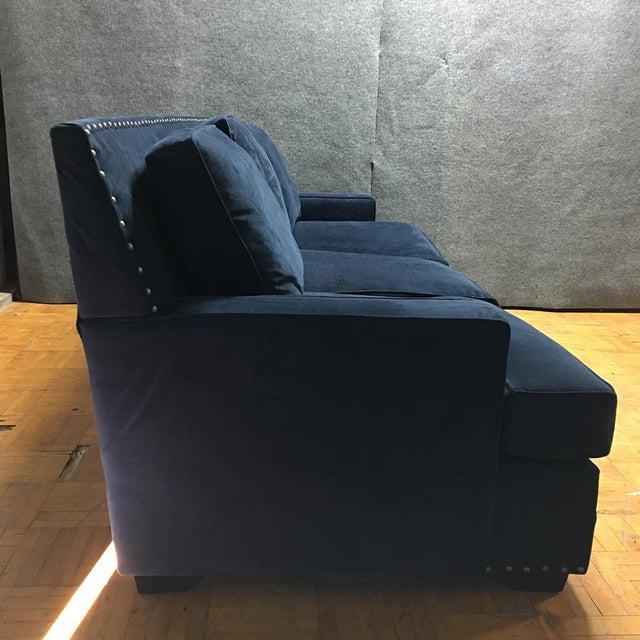 Living Spaces Blue Faux Velvet Oversized Isabelle Sofa - Image 7 of 10