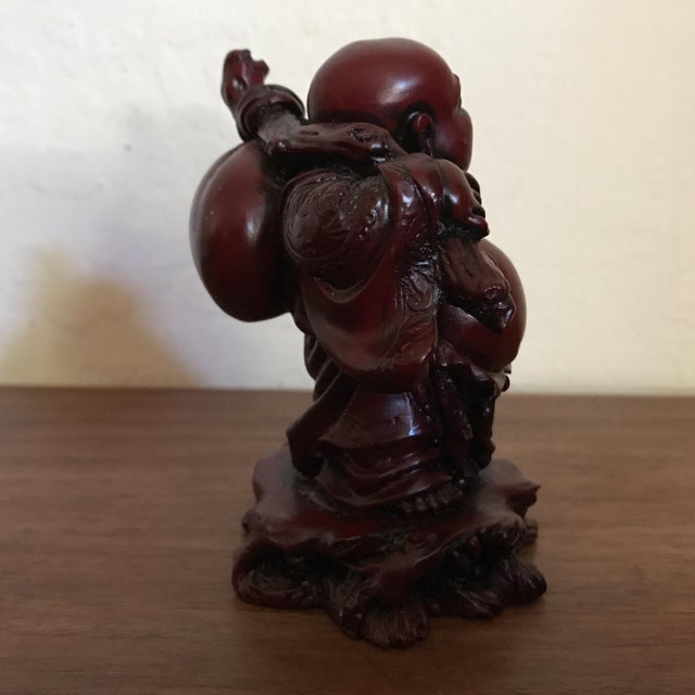 Vintage Red Resin Buddha Statue For Sale - Image 4 of 5