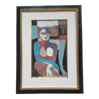 Beth Downey Abstract Sitting Figure Painting For Sale