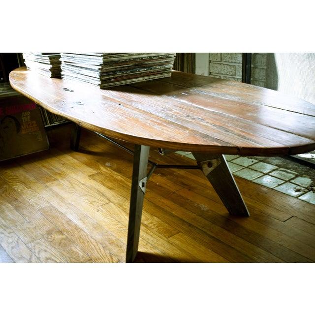 Mid-Century Reclaimed Wood Surfboard Coffee Table - Image 6 of 11