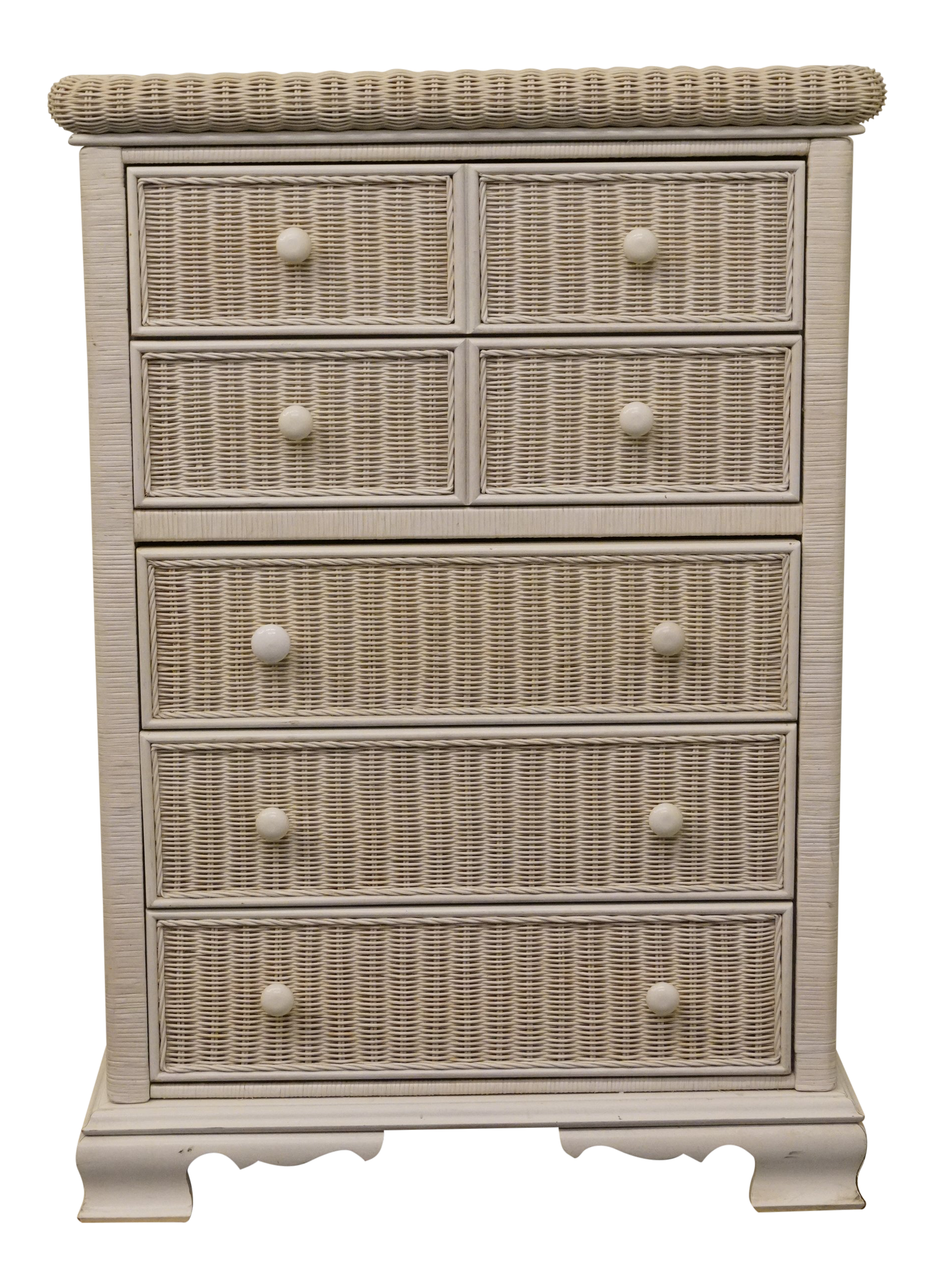 best sneakers eb556 929fe 20th Century Traditional Pennsylvania House White Wicker Chest of Drawers