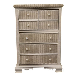 20th Century Traditional Pennsylvania House White Wicker Chest of Drawers For Sale