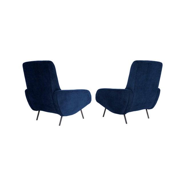 Pair of 1950s Italian armchairs reupholstered in a slate blue, low-pile velvet. Black steel legs have been restored....