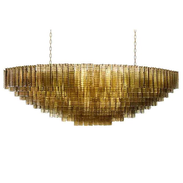 Art Deco An Outstanding Bespoke Large Murano Piastre Chandelier For Sale - Image 3 of 7
