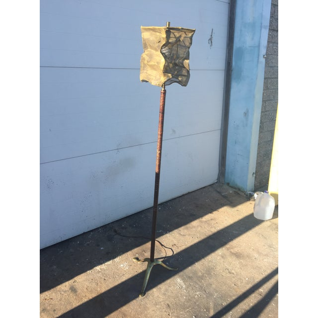 Vintage Floor Lamp With Screen Shade - Image 4 of 8