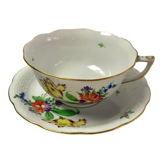 Early 20th Century Herend Herend Printemps Motif #5 Teacup and Saucer - a Pair For Sale