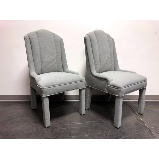 High-End Grey Channel Back Parsons Chairs - Pair C For Sale - Image 4 of 12