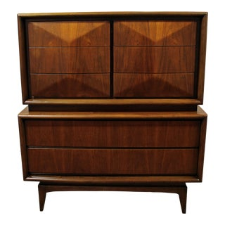 Mid-Century Modern Kagan Style United Diamond Front Tall Chest Dresser