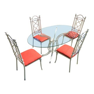 Vintage Kessler Cast Aluminum White Faux Bamboo Glass Top Table & Chairs For Sale