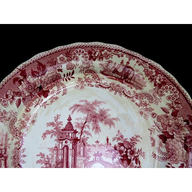 Red 1830s F. Dillon China Red & White Transfer Plate For Sale - Image 8 of 10
