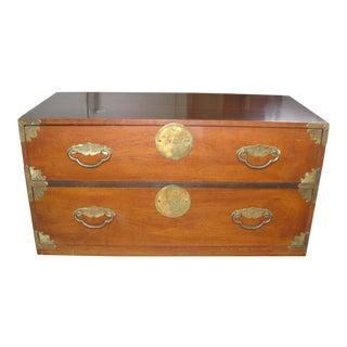1960s Asian Henredon Fine Furniture Walnut Commode For Sale