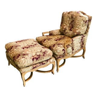 Kreiss Chairs & Ottomans Set - A Pair For Sale