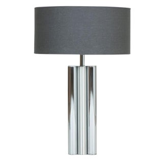 1970s Brushed and Polished Chrome Table Lamp For Sale