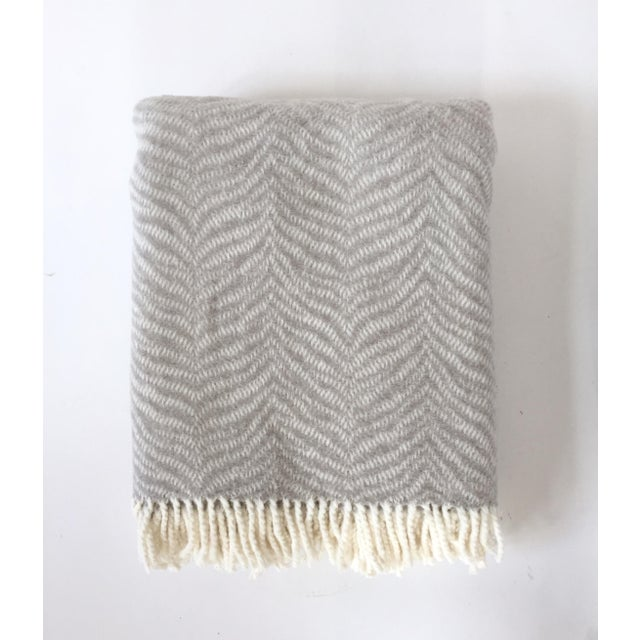 2010s Fringed Gray Tiger Throw Blanket For Sale - Image 5 of 6