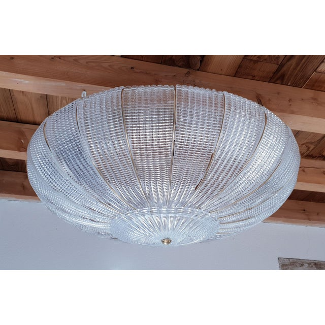 Very large, round translucent Murano glass flush mount ceiling light, Mazzega style, Mid Century Modern, Italy, 1980s. The...