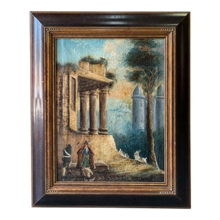 18th Century Antique Continental Oil Artwork of Ruins Painting For Sale
