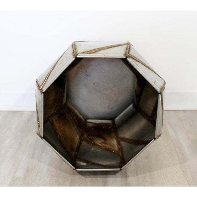 1970s Mid-Century Modern Welded Metal Drum Side End Table C. 1970s For Sale - Image 5 of 6