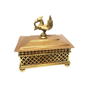South East Asian Solid Brass Trinket Box