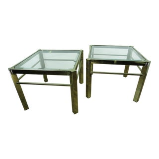 Late 20th Century Vintage Modern Brass and Glass Side Tables - A Pair For Sale