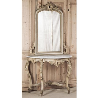 19th Century Italian Hand Painted Console and Mirror With Cararra Marble Preview