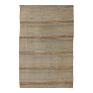 Turkish Vintage Kilim Rug With in Tan, Taupe, Gray Blue, and Earth Tones For Sale