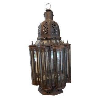Vintage Moroccan Tin and Glass Lantern For Sale