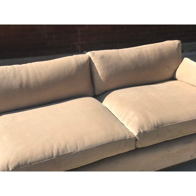 Mid-Century Modern Mid Century Khaki Velvet Sofa For Sale - Image 3 of 11