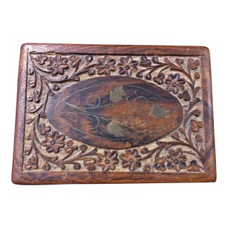 Hand Carved Brass Inlaid Wooden Box