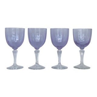 Denby Country Lilac Wine / Water Goblets - Set of 4 For Sale