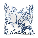 Image of Lee Jofa Groundworks Hutch Blue Bunny Pillow For Sale