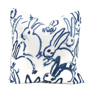Lee Jofa Groundworks Hutch Blue Bunny Pillow For Sale