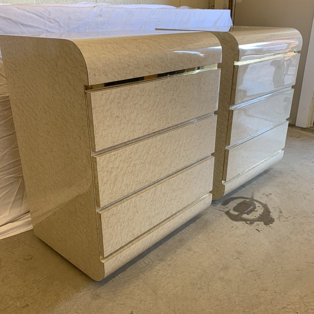 Modern Post Modern Laminate Brass Nightstands -A Pair For Sale - Image 3 of 10