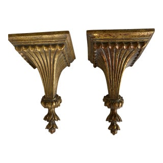 1980s Gold Leaf Brackets - a Pair For Sale