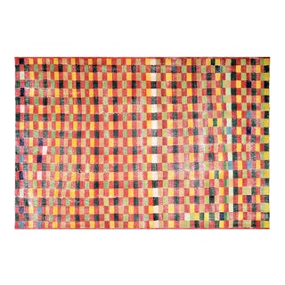 """Vintage Turkish Anatolian Art Deco Hand Knotted Organic Wool Fine Weave Rug,7'1""""x10'7"""" For Sale"""