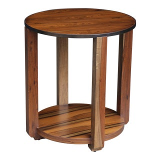 Ottavia Contemporary Round Solid Wood Occasional Table in With Steel Detail For Sale