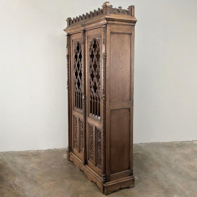 Gothic 19th Century French Gothic Bookcase ~ Vitrine For Sale - Image 3 of 13