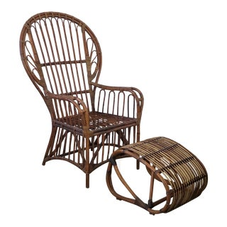 1960s Vintage Franco Albini Style Peacock Back Chair and Ottoman For Sale