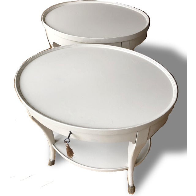 French Louis XIV Baker Furniture Oval Side Tables - a Pair For Sale - Image 3 of 9