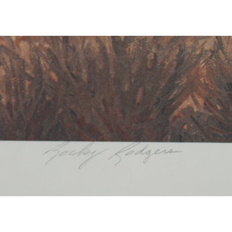 A lovely lithograph by American artist Rocky Rodgers, American (1947 - ) titled Old Memories. Circa 1979. Lithograph,...