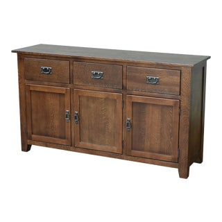 "Crafters and Weavers Mission Solid Oak 3 Drawer 3 Door Sideboard - Walnut (Aw) - 59"" For Sale"
