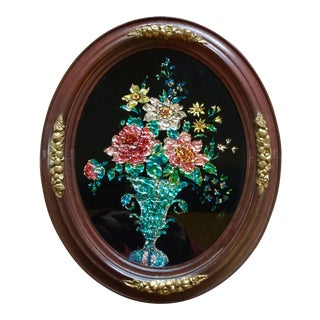 Oval Victorian Tinsel Painting For Sale