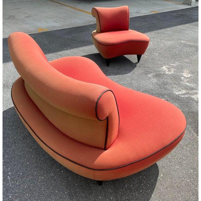 Mid-Century Modern 1950s Cloud Sofa in the Style of Adrian Pearsall Peanut Shape - 2 Pieces For Sale - Image 3 of 12