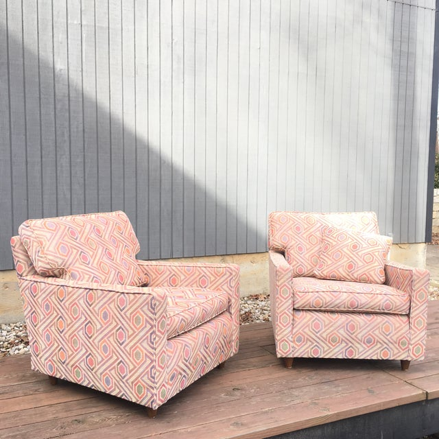 Wood Vintage Mid Century Modern Club Lounge Chairs- A Pair For Sale - Image 7 of 12