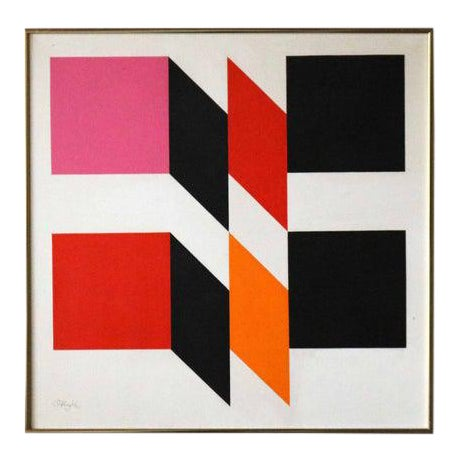 Original Mid Century Modern Hard Edge Abstract Oil Painting by Carl Slaughter #27 For Sale