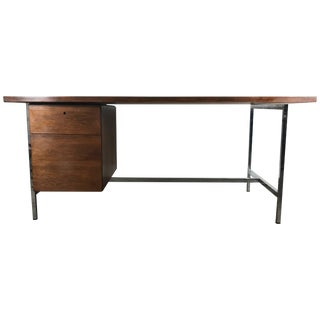 Mid Century Vintage Florence Knoll Walnut and Chrome Desk For Sale