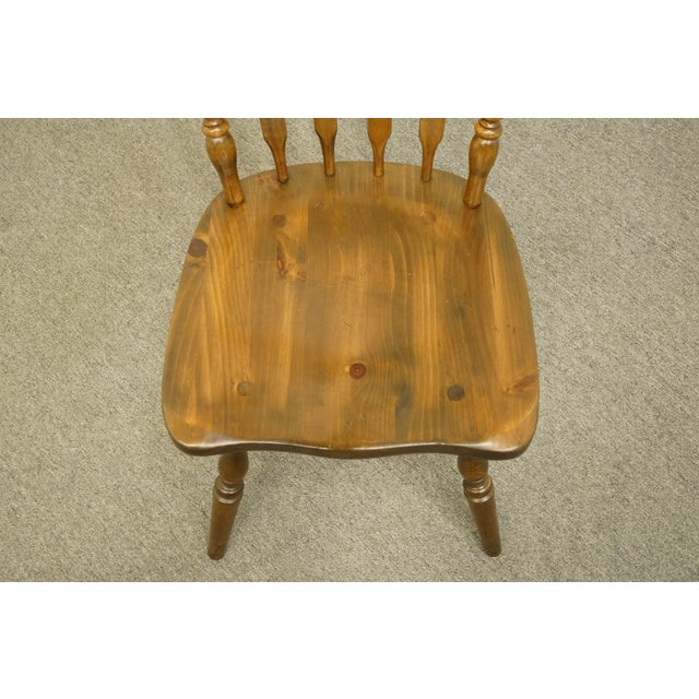 Late 20th Century Late 20th Century Ethan Allen Antiqued Pine Old Tavern Cattail Back Dining Side Chair For Sale - Image 5 of 10