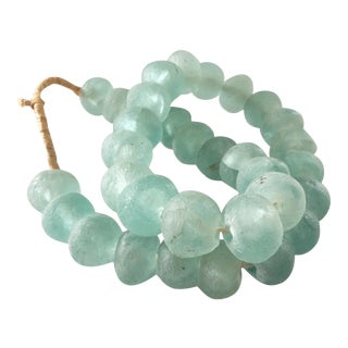"""African Jumbo GlassTrading Beads Necklace 28"""" H For Sale"""