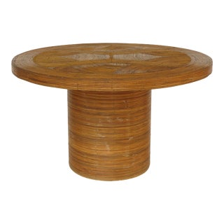 Gabriella Crespi Style Round Pencil Reed Center / Game Table