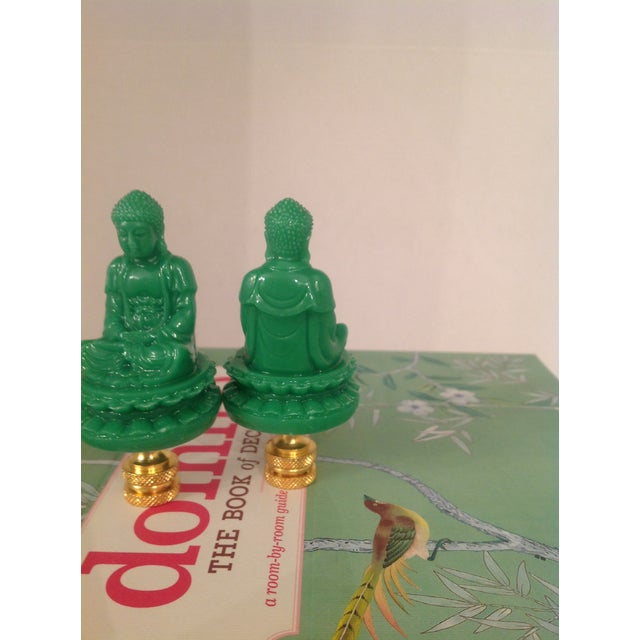 Green Chinese Buddha Shaped Lamp Finials - a Pair - Image 2 of 4